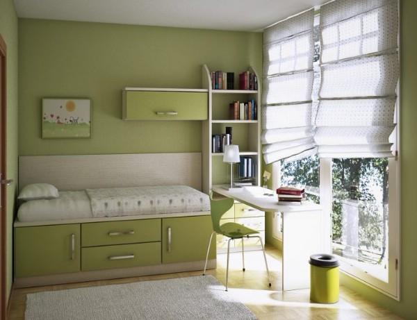пример использования мебели в интерьере маленькой детской спальни