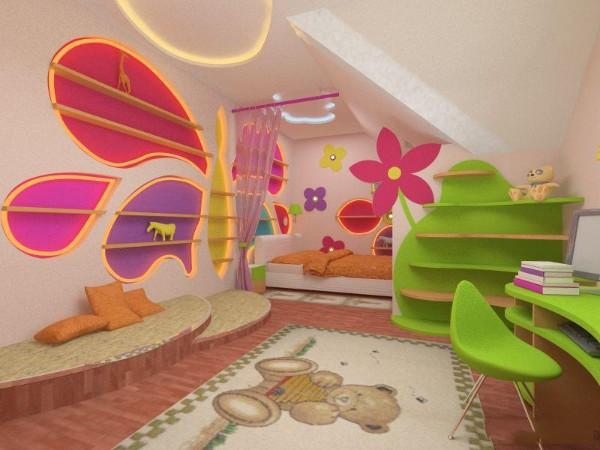 интерьер детской мансардной комнаты, фото 61