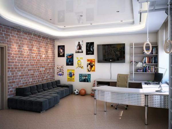 просторный интерьер детской спальни для подростка в стиле лофт