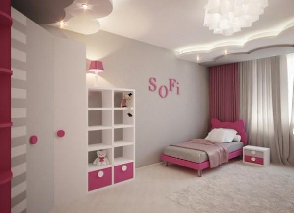 просторный серо-розовый интерьер детской спальни