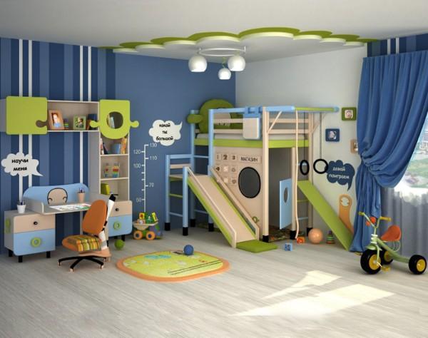 симпатичный интерьер детской спальни для мальчика