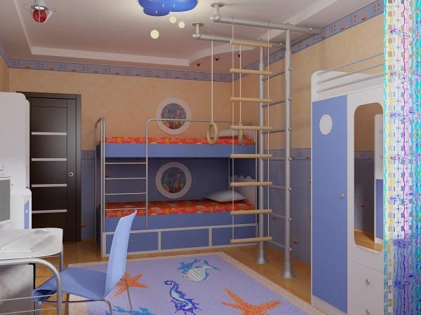 интерьер детской комнаты для школьника, фото 57