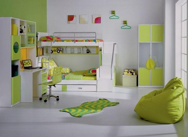 современный дизайн интерьера детской спальни в светло-зелёном цветовом решении