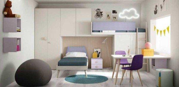 современный интерьер детской спальни для мальчика и девочки