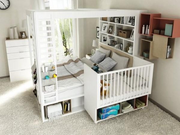современный интерьер спальни с приставной детской кроваткой