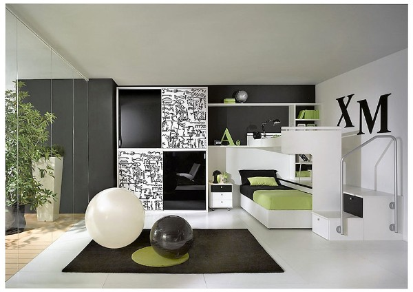 стильный дизайн детской спальни для подростка в стиле хай тек