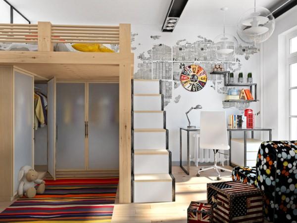 стильный лофтовский интерьер детской спальни для подростка