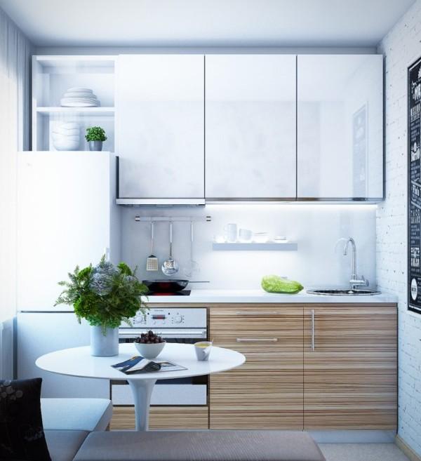 светлая кухонная мебель для малогабаритной квартиры
