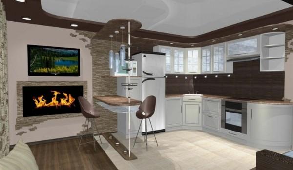 светлая кухонная мебель с барной стойкой в квартира