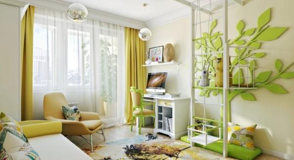 Интерьер детской прямоугольной комнаты, фото 15