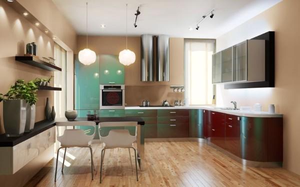 угловая кухонная мебель со скруглёнными линиями