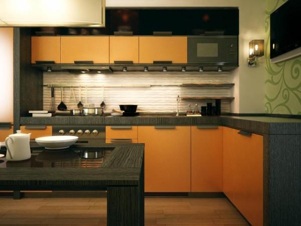 угловая кухонная мебель в нише