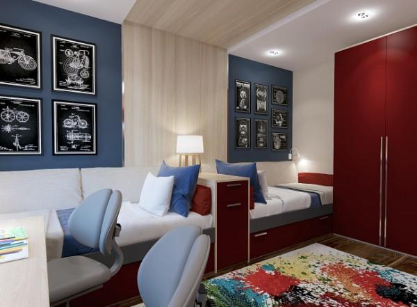 вариант дизайна интерьера детской спальни для двух подростков