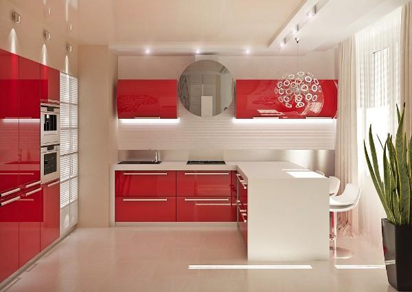 встроенная кухонная мебель яркого цвета