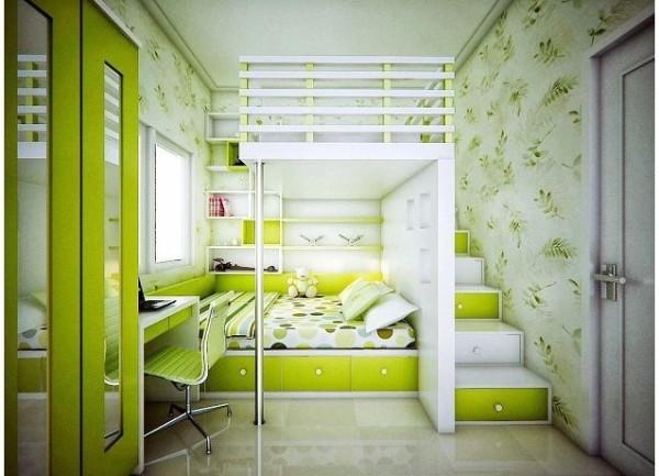 зелёный интерьер детской спальни для двух девочек