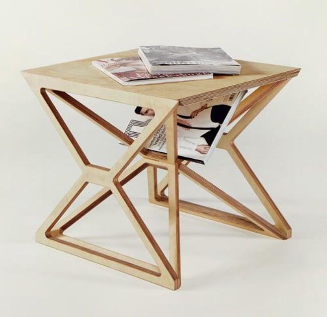 Необычный журнальный стол из фанеры, фото