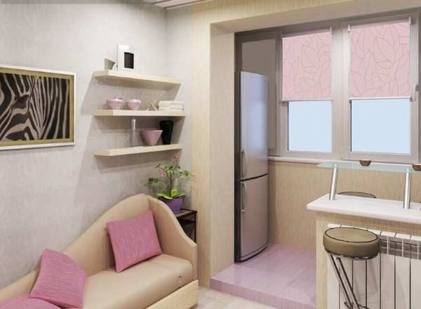 интерьер кухни с балконом, фото 11
