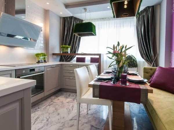 шторы в интерьере кухни с балконом, фото 12