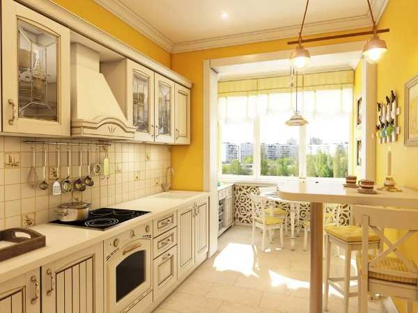 интерьер кухни с выходом на балкон, фото 16