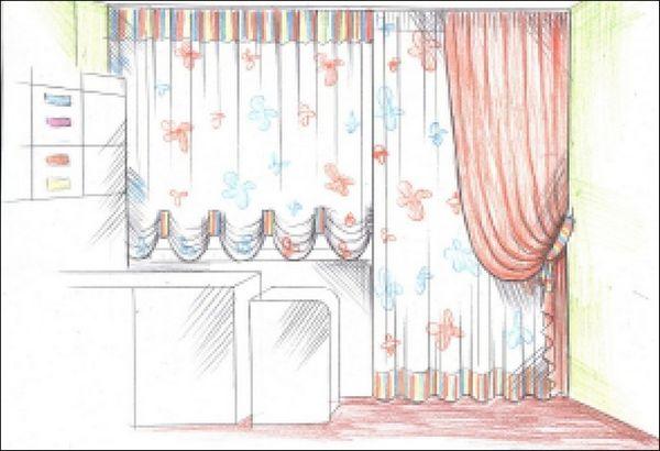 красивые длинные шторы на кухню, фото 38
