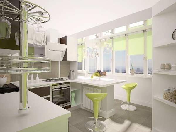 интерьер прямоугольной кухни с балконом, фото 24
