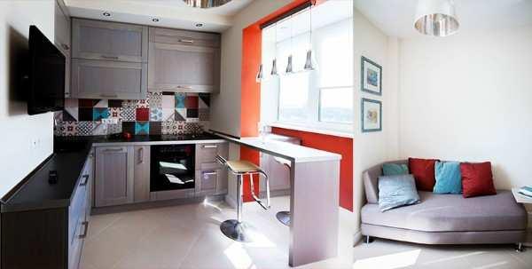 интерьер кухни гостиной с балконом, фото 3
