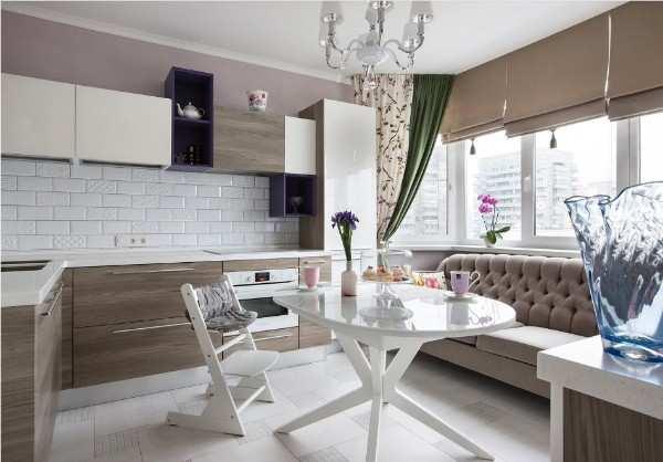интерьер кухни 9 кв м с балконом, фото 30