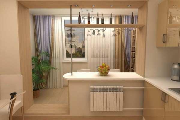 интерьер кухни 9 метров с балконом, фото 32