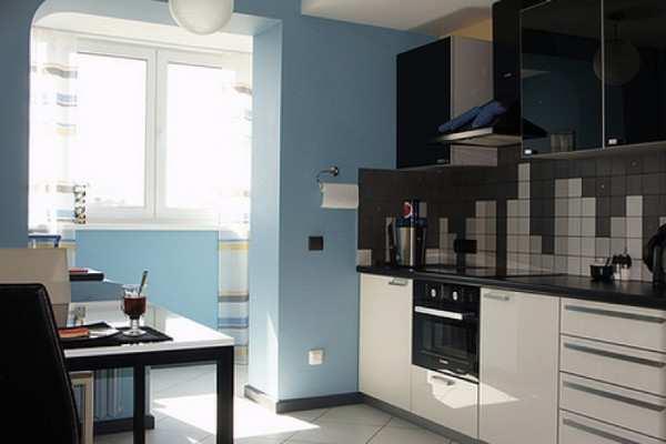 кухня с балконом дизайн интерьер, фото 4