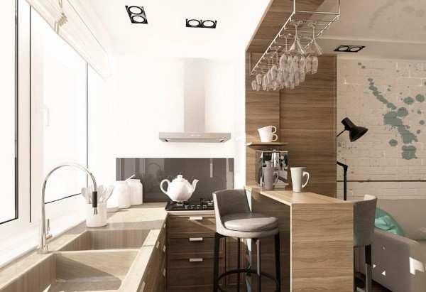 интерьер кухни совмещенной с балконом, фото 41