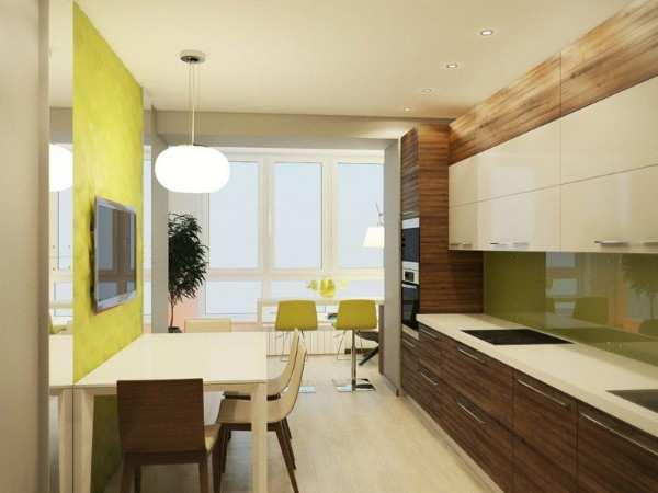 кухня с балконом дизайн интерьер, фото 42