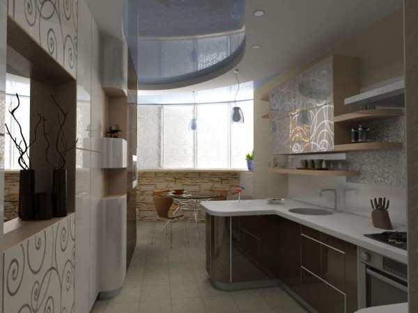 современный интерьер кухни с балконом, фото 48