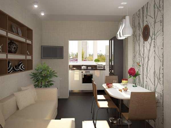 современный интерьер кухни с балконом, фото 49