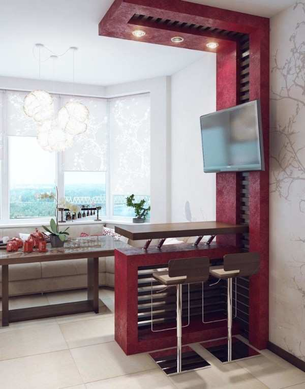 современный интерьер кухни с балконом, фото 50