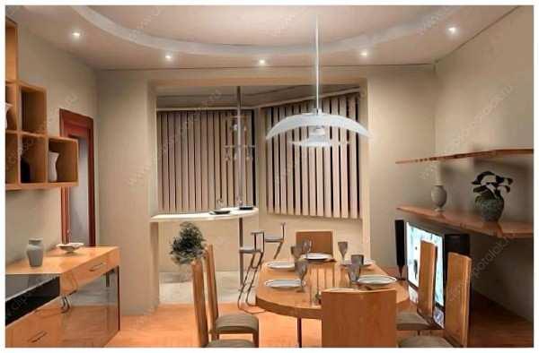 современный интерьер кухни с балконом, фото 51