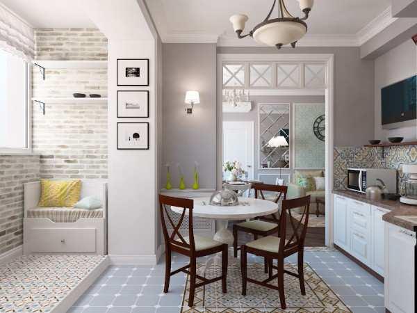 современный интерьер кухни с балконом, фото 52