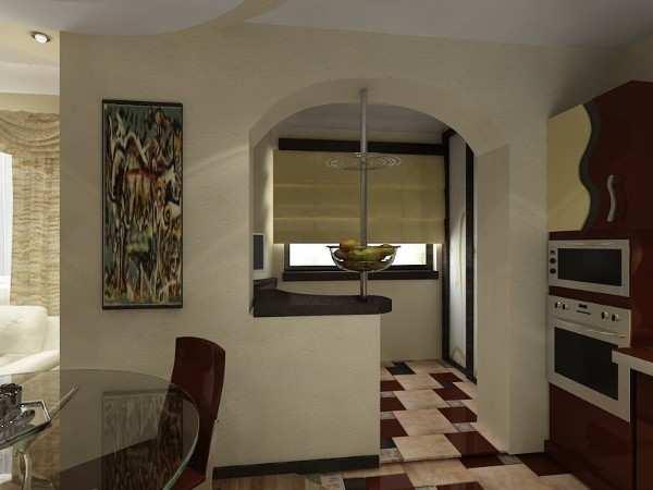 интерьер кухни 9 кв с балконом, фото 54