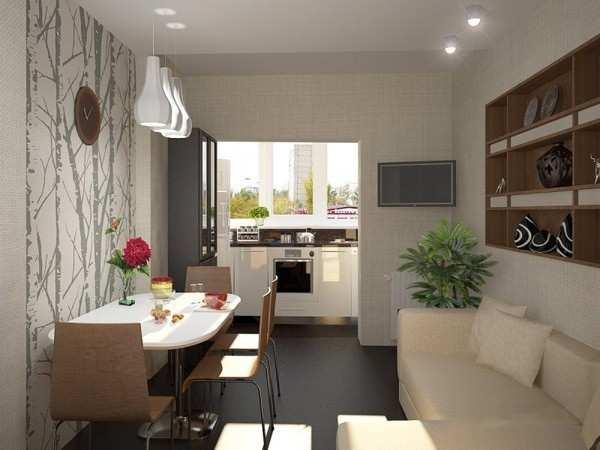 интерьер кухни объединенной с балконом, фото 57
