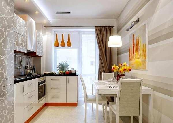интерьер кухни с балконом, фото 58