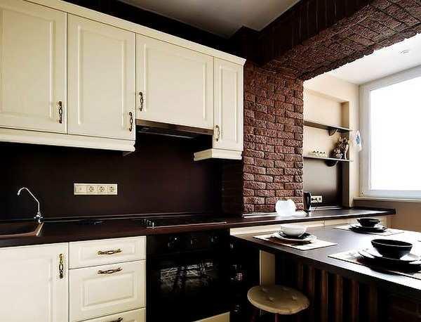интерьер кухни объединенной с балконом, фото 6
