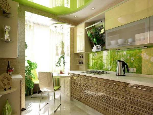 кухня с балконом дизайн интерьер, фото 63