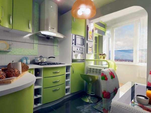 интерьер кухни 9 кв м с балконом, фото 9