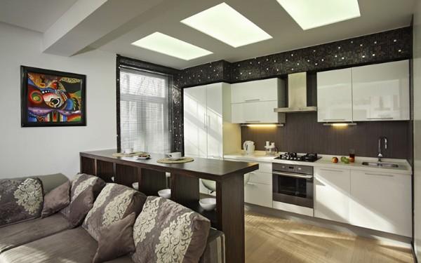 современный дизайн интерьера кухни в квартире студии