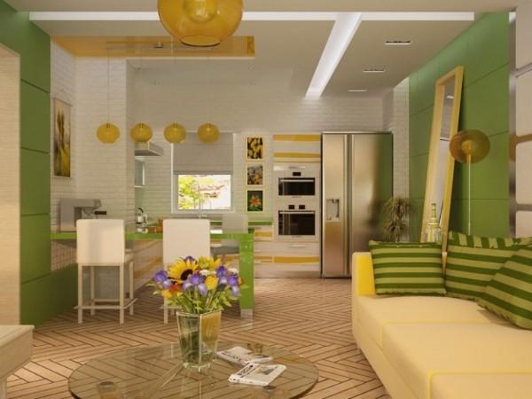 зелёные тона в оформлении кухни гостиной