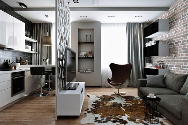 ажурная перегородка в дизайне гостиной объединённой с кухней