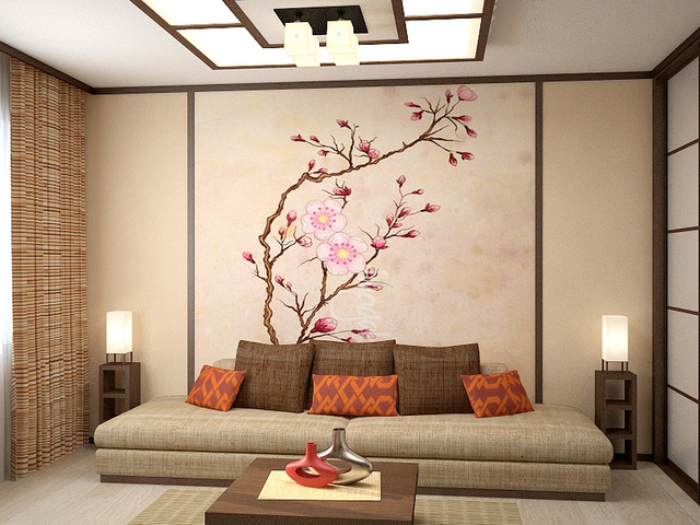 азиатский стиль гостиной