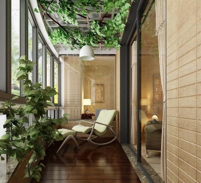балкон в эко стиле