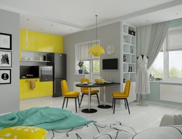 бело-жёлтый интерьер гостиной объединённой с островом