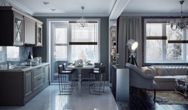 благородность серого цвета в дизайне гостиной объединённой с кухней