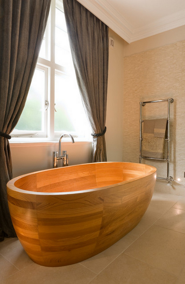 деревянная ванна в интерьере фото